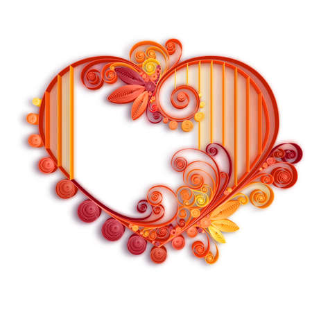 quilling: Quilling paper heart. Vector illustration. Happy valentine day