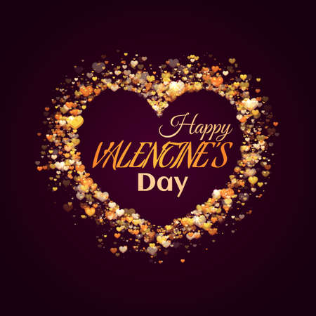 nobleness: Happy valentine day banner. Heart with title. Vector illustration.