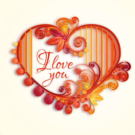 paper cutting: Quilling paper heart. Vector illustration. Happy valentine day and love.