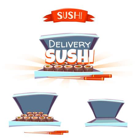 chopstick: Set of sushi with box and chopstick. Delivery banner. Vector illustration. Illustration