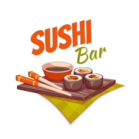 chopstick: Sushi with sauce and chopstick on plate. Vector illustration.