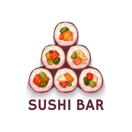 logo de comida: Pirámide de Sushi Bar. ilustración. Fondo blanco