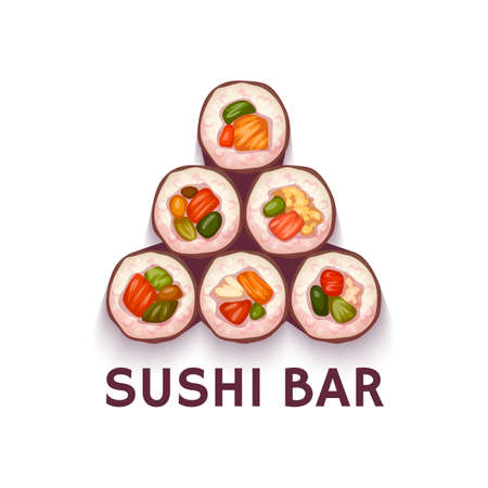 fresh food: Pyramid for Sushi Bar. illustration. White background Illustration
