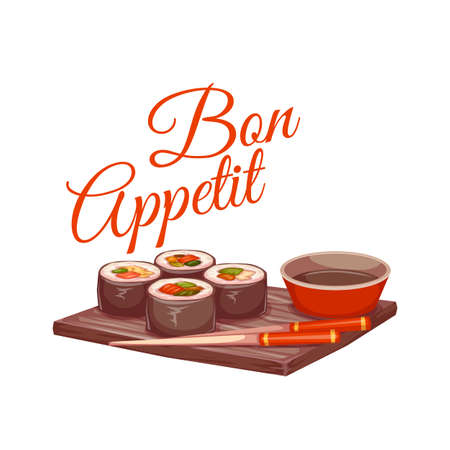 sushi  plate: Sushi with sauce and chopstick on plate. Bon appetit. illustration.