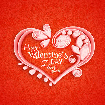 quilling: Quilling paper heart. illustration. Happy valentine day