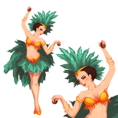 exotic dancer: Woman samba dancer. Rio carnival illustration. Vector
