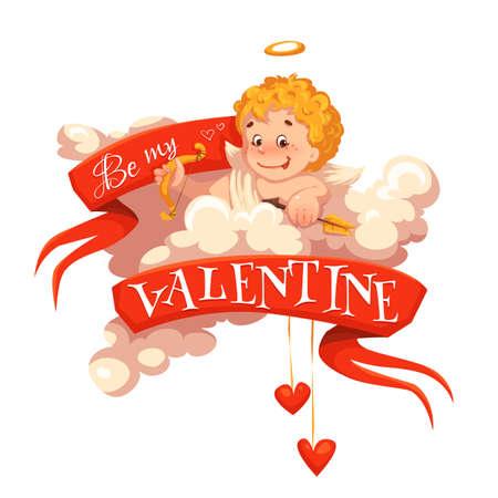 valentine cherub: Happy valentine day. Red heart with cherub. Vector illustration.