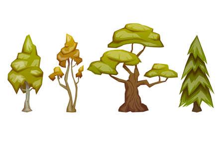 Ensemble de quatre arbres de pins, de bouleaux, de chênes et de tremble. Vector illustration.