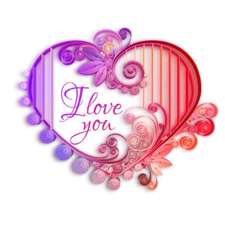 quilling: Quilling paper heart. Vector illustration. Happy valentine day and love.
