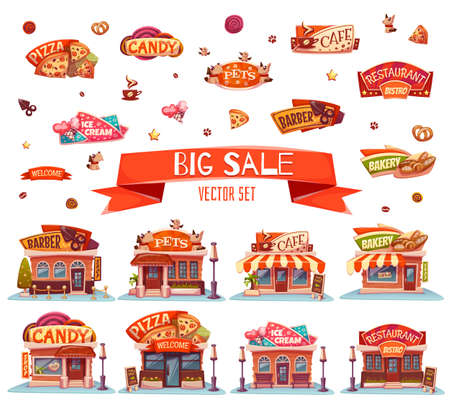 negozio: Vector set di caffetteria, ristorante, gelati-shop e panetteria. Vettoriali