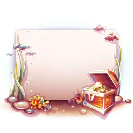 cofre del tesoro: Bandera del vector con cofre del tesoro en el oc�ano.