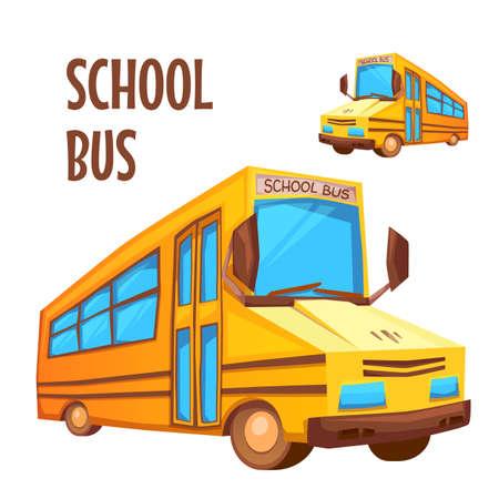 autobus escolar: Ilustración del vector del autobús escolar en el fondo blanco.
