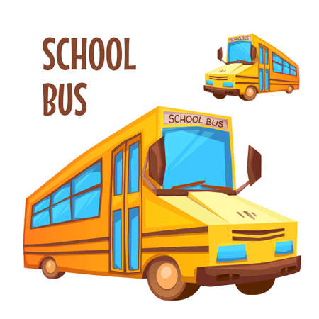 cartoon land: Vector illustration of school bus on white background.