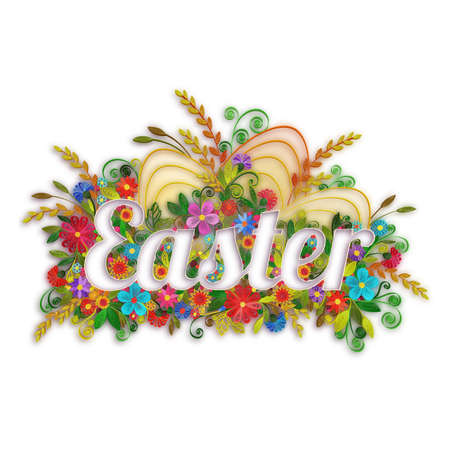 Easter banner with flowers in quilling technique. Vector illustration.