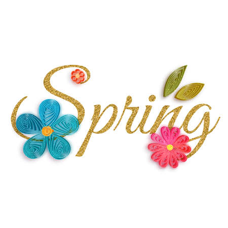 quilling: Gold text of spring with quilling flowers. Vector illustration.