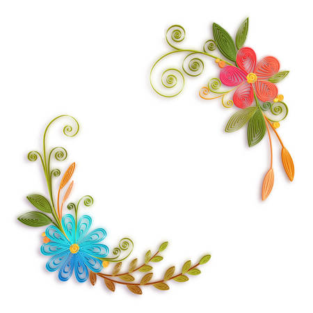 Vector color flower branch in quilling technique . Stock Vector - 55425978