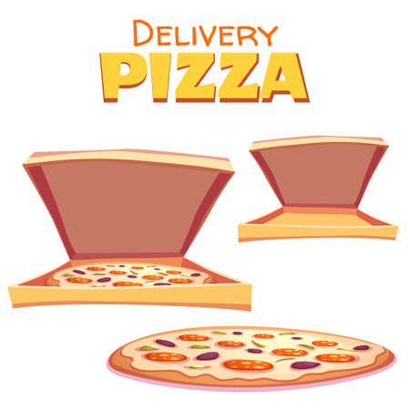 text box: Vector illustration of hot pizza in box with text. Illustration