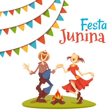 hick: Girl and boy dancing at Brazil june party. Vector illustration. Illustration