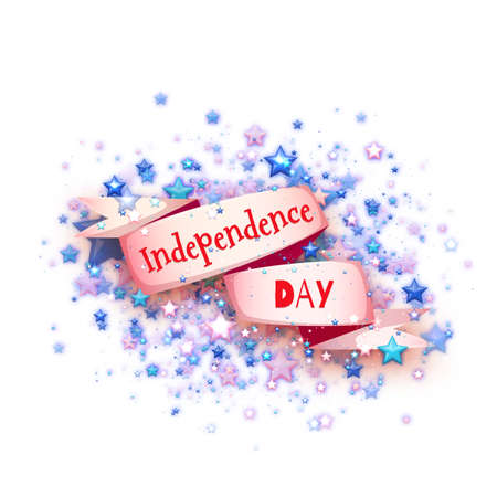 banger: Happy independence day banner. Ribbon with title. Vector illustration.