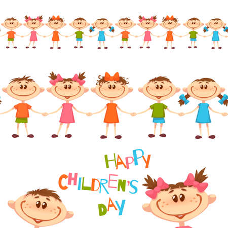Seamless pattern with cute childrens. Happy Childrens Day title. Vector illustration.