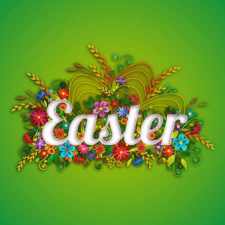 illustration technique: Easter banner with flowers in quilling technique. Vector illustration.