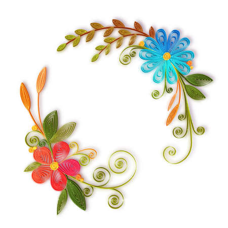 and technique: Vector color flower branch in quilling technique .