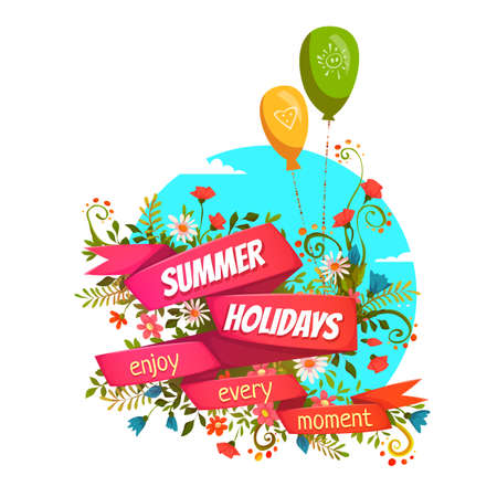festival moment: illustration of red ribbon with Summer Holidays title. Illustration