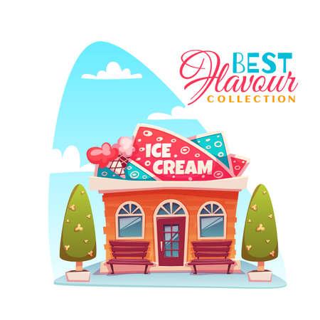 flavour: Illustration of ice cream shop building. Best flavour collection banner. Illustration