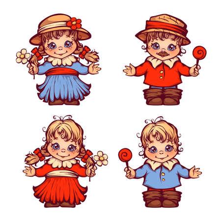 children party: set of sweet children for Festa Junina party.