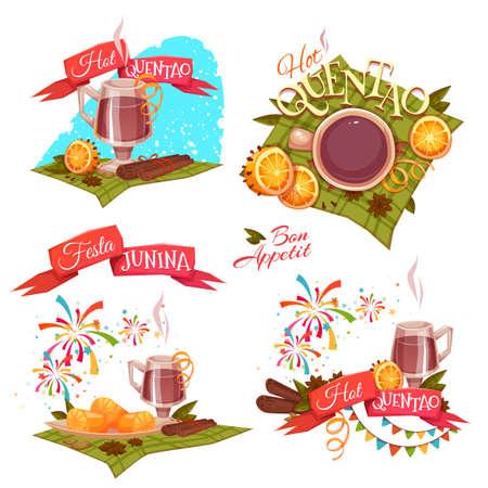 festa: Banner set with ribbons for Festa Junina Brazil party Illustration