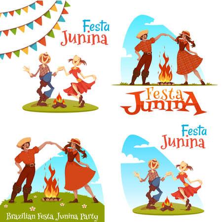 festa: Girl and boy dancing at Brazilian Festa Junina Party. Illustration