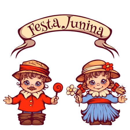 festa: Brazilian Festa Junina Party girl and boy with ribbon banner
