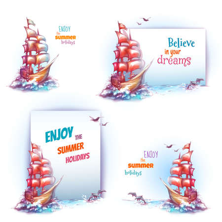 galley: travel banner set with ship in ocean. Illustration