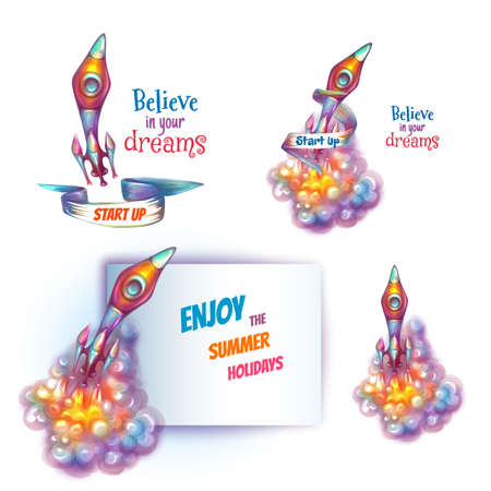vapor trail: illustration of brightly rocket with paper.
