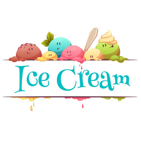 color drops: Ice cream banner with color drops illustration.