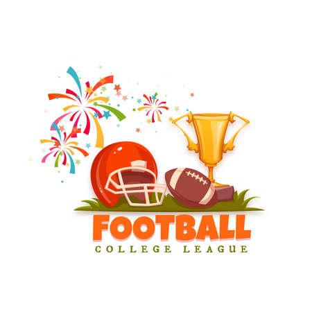 bannière football: bannière de football avec le ballon et le casque. Vector illustration.
