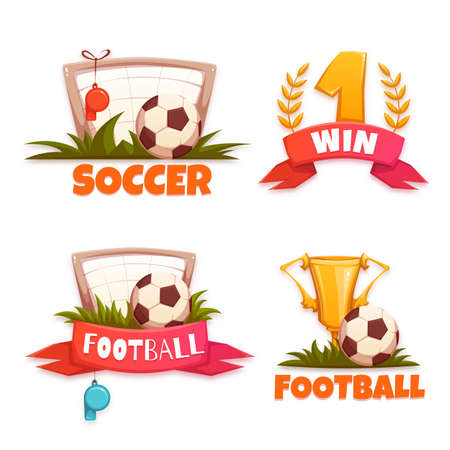 banni�re football: Football banner set avec ballon et Gobelet. Vector illustration. Illustration