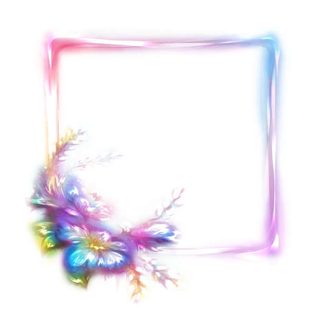 neon plant: Vector rainbow frame with flower in corner on white background.