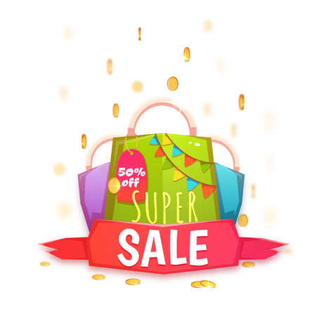 banger: Big sale banner with color packet and coins. Vector illustration.