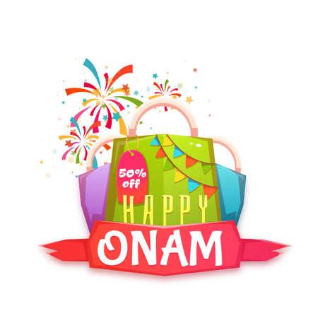 banger: Sale Onam banner with packet and ribbon. Vector illustration.
