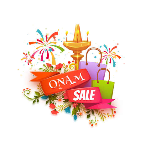 pookolam: Onam sale banner with ribbon. Vector illustration.