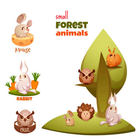 Vector set of small forest cute animals.