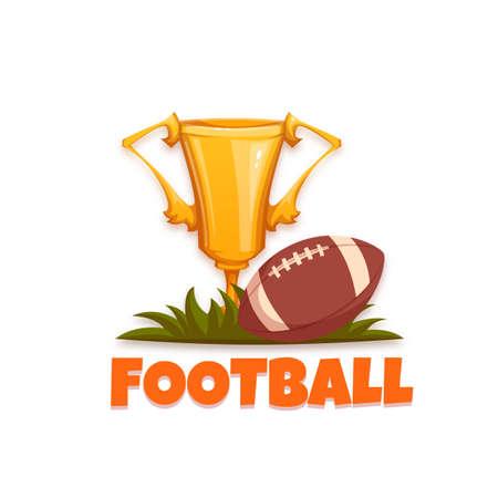 bannière football: bannière Football avec ballon et Gobelet. Vector illustration.
