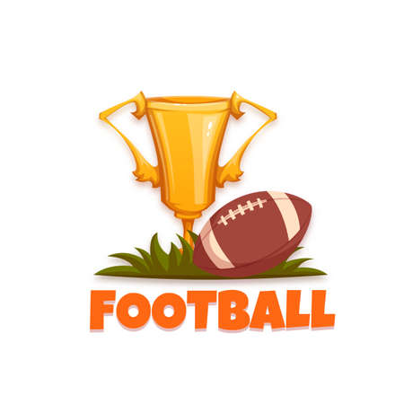 banni�re football: Football banner with ball and goblet. Vector illustration.