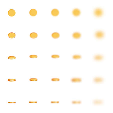 disappear: Vector set of blured coins on white background. Illustration