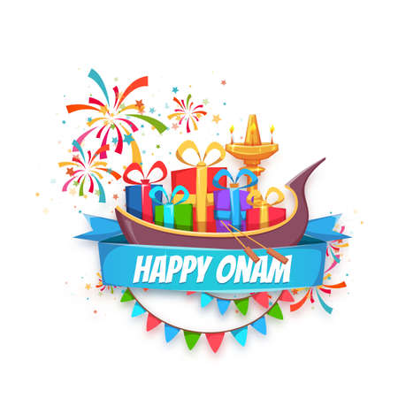 malayalam: Onam sale banner with ribbon. Vector illustration.