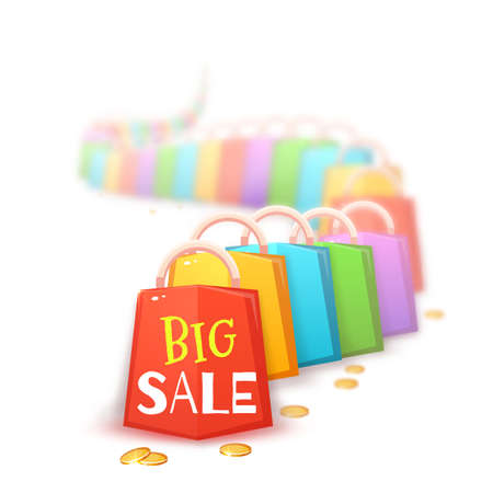 packets: Big sale banner with color packets and coins. Vector illustration. Illustration