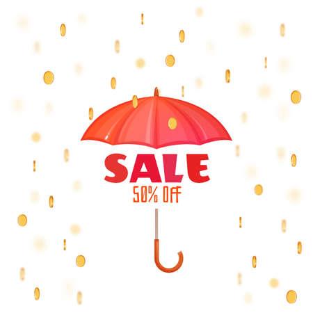 monsoon: Monsoon salle banner with umbrella. Vector illustration. Illustration