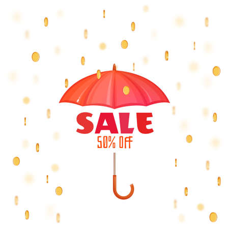 Monsoon salle banner with umbrella. Vector illustration. Illustration