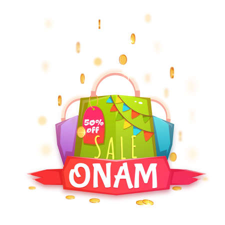 onam: Sale Onam banner with packet and ribbon. Vector illustration.